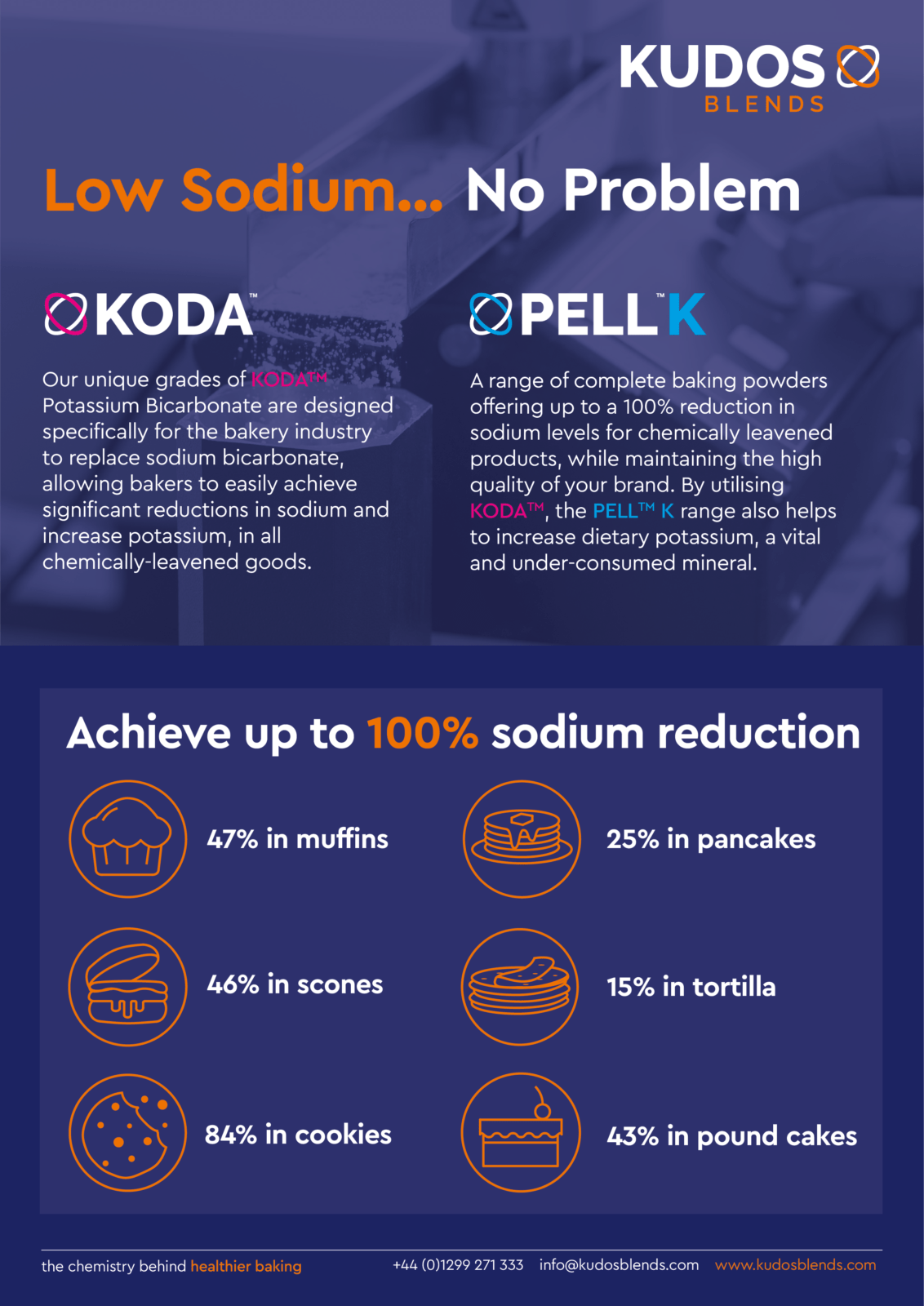 Infographic and text about low sodium solutions we offer