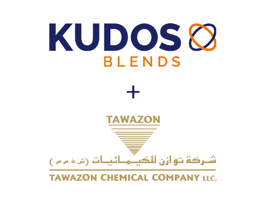 Kudos Blends and Tawazon logos.